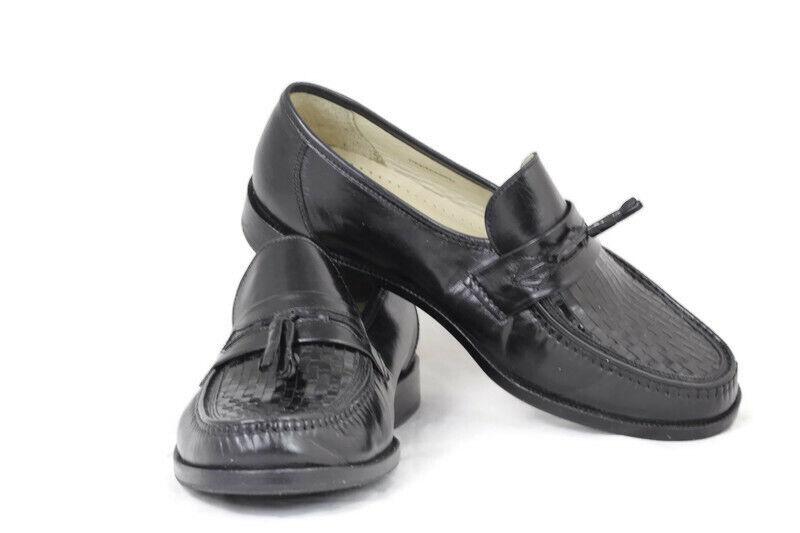 Stafford Centennial Men's Dress Shoes Woven Black Leather Tassel Slip On 10.5 M