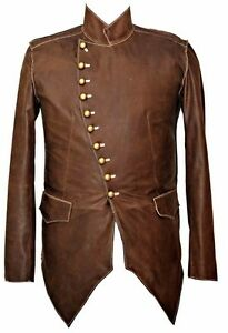 Mans-100-REAL-LEATHER-Brown-Steampunk-Jacket-Military-Tunic-All-Sizes