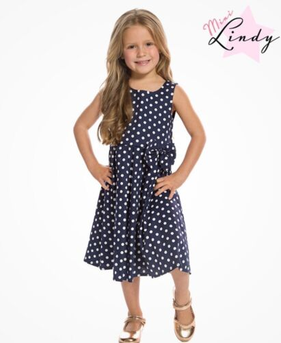 LINDY BOP /'Mini Grace/' Children/'s Vintage Style Navy Polka Dot Print Swing Dress