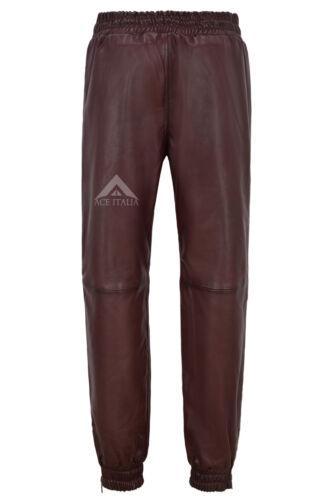Men/'s Vera Pelle Pantaloni CHERRY Napa Sudore Track Pant Zip Jogging Fondo 3040