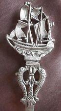Ouvre lettres argent massif - Décor de bateau voilier & dauphins - Espagne 915
