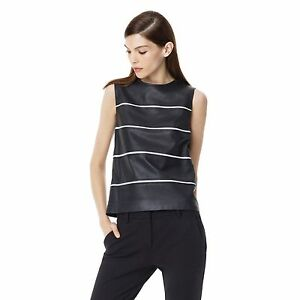 8b81ac29734889  655 Theory Emlay Magazine Striped Leather Tank Top in Black white ...