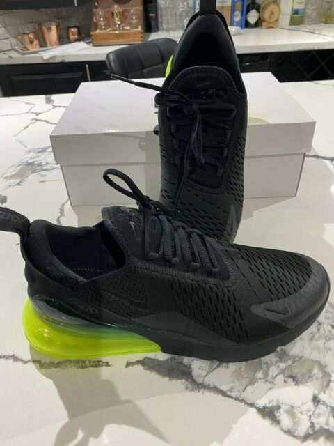 New Nike Air Max 270 Black Volt Green Men's Size 8.5 Running Shoes Rare