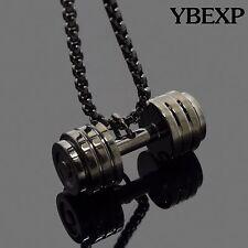 "24"" Men's Silver Gold Black Stainless Steel Dumbbell Barbell Pendant Necklace"
