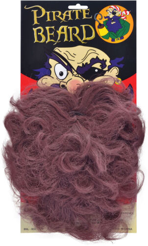 Adults Fancy Dress Party Captain Fake False Caribbean Long Wave Pirate Beard UK