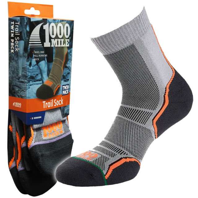 1000 Mile Trail Walking Off Road Running Racing Mens Socks, 2 Pair Per Pack