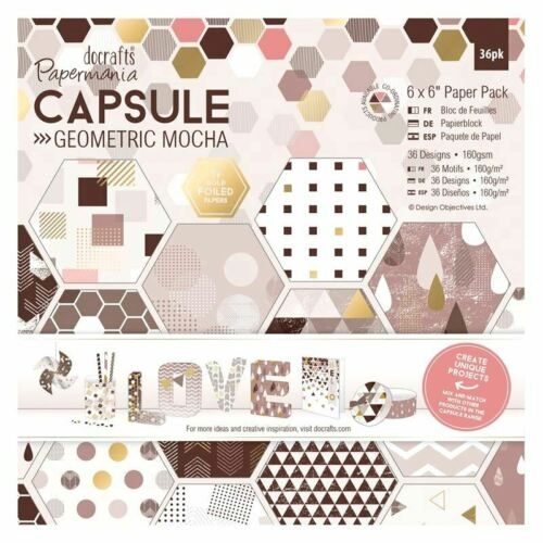 Docrafts Papermanis Capsule Geometirc Mocha Gold Foiled Detail 6x6 Paper Pad New