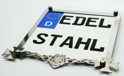 Kennzeichenrahmen Motorrad Kennzeichenhalter Edelstahl hochglanz SCHÄDEL 20x20cm