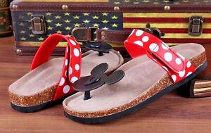 9eb4f7603ba Disney Mickey Mouse Adults Women s Summer Beach Flip Flops Cork ...