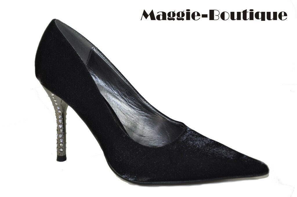Satin White Black Diamante Heel Shoe UK 2 3 4 5 6 7 7.5
