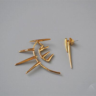 Alexis Bittar Jewelry 18K Gold Plated Punk Ear Wrap Cuff  Earrings