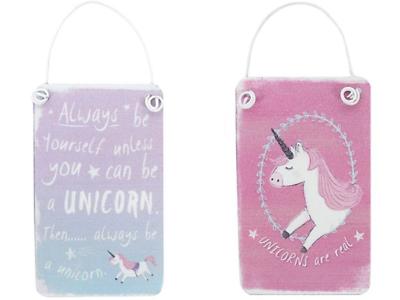 Mini Metal Unicorn Hanging Signs Rainbow Sparkle Glitter Pink Fantasy Plaques