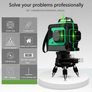 Details about 12 Line Laser Level Green Self Leveling 3D 360° Rotary Cross  Measure Tool Kit UK