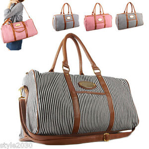 Image Is Loading Womens Stripe Shoulder Travel Luggage Gym Bag Duffle