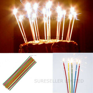 18 X Long Colour Sparkling Candles Decorations Birthday Cakes Party