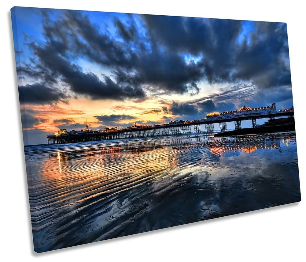 Brighton Pier Sunset Picture SINGLE CANVAS WALL ART Print