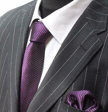 Tie Neck tie with Handkerchief Dark Purple