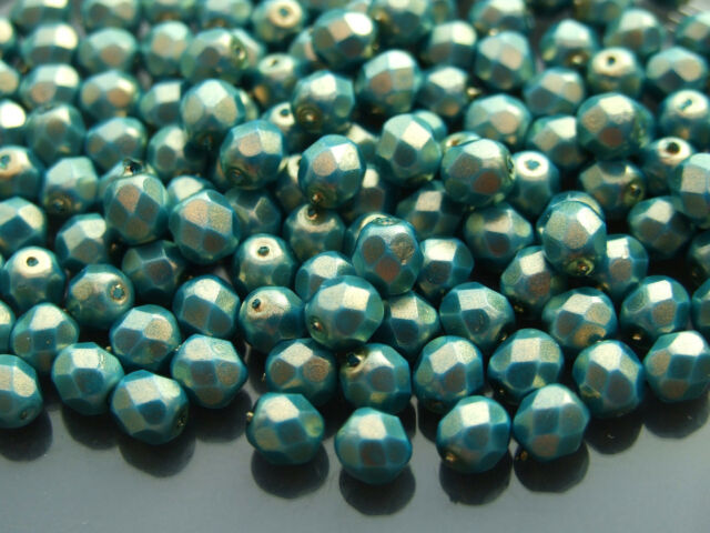 25 8mm Tanzanite Faceted Czech Glass Fire Polished Beads