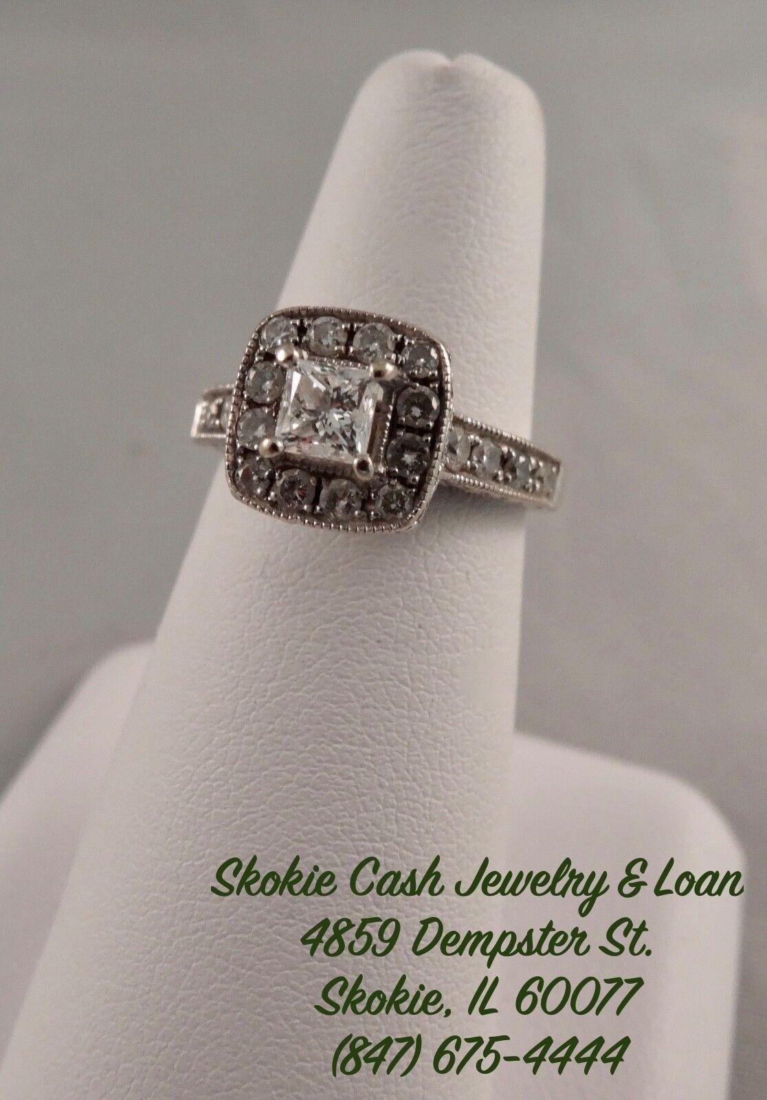 14kt White gold Princess Cut Halo Diamond Engagement Ring (.75TCW)