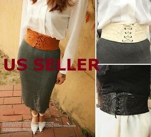 3901633624 US SHIP Women Lace Corset Waistband Wide Elastic Stretch Lace Up ...