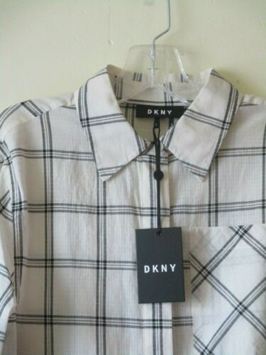 Shirt New Dkny 14 Tunic Trend Check S Safari Sz Ivory 12 Utility Black Blouse 5wwqOpH
