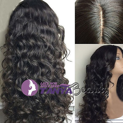 Natural Wavy 100% Brazilian remy human hair full lace wigs/lace front wigs