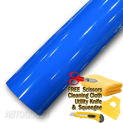 "60/"" x 60/"" Super Gloss Blue Vinyl Film Wrap Sticker Air Bubble Free 5ft x 5ft"