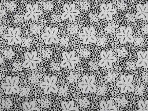 EM-LaceStretchCot6362-BW-M Floral Print Stretch Cotton Dress Fabric