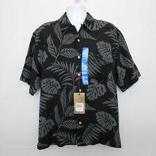 Men's New JAMAICA JAXX Short Sleeve Camp Shirt Sz LARGE Black Floral Silk