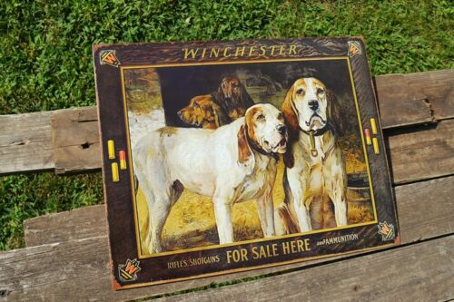 Winchester Rifles Bloodhound Shotguns and Ammunition For Sale Tin Metal Sign