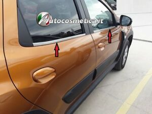 Cornici-Profili-Acciaio-Satinato-Raschiavetri-Finestrini-Dacia-Duster-2017-2019