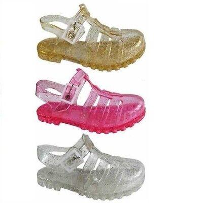 Millie Girls Kids Glitter Summer Beach Jelly Gladiator Strap Style Sandals Shoes