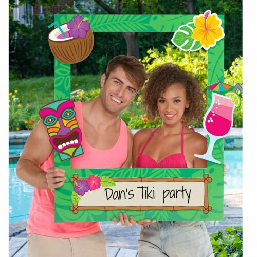 Hawaiian Luau Tiki Bar Pool Custom Party Photo Frame Prop Selfie Personalise Fun