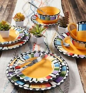 Image is loading 16-Piece-Dinnerware-Set-Dishware-Stoneware-Plates-Dishes- & 16 Piece Dinnerware Set Dishware Stoneware Plates Dishes Fiesta ...