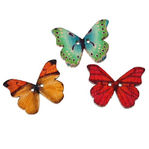 50pcs Mixed 2 Hole Wood Natural Butterfly Sewing Scrapbooking Craft Buttons