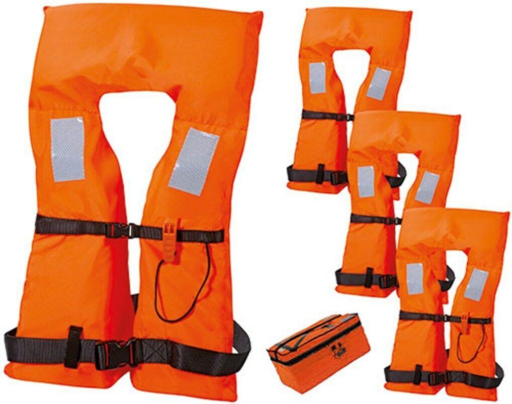 Marinepool Rettungswestenset 4ER SET mit Tasche 100N Schwimmweste Vento ISO SOS