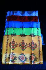 Tibetan Buddhism 8 Auspicious Lucky Symbol Printed 5 Color Set Silk Khada Kata