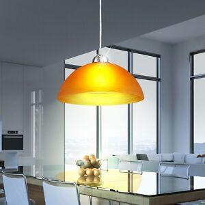 Glas-Haenge-Leuchte-Wohn-Ess-Zimmer-Tisch-Decken-Lampe-Pendel-Beleuchtung-Orange