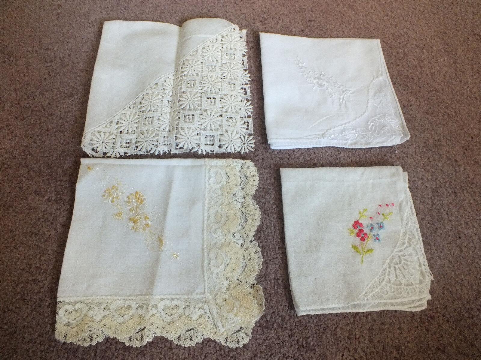Collectible Ladies Handkerchief Set 4 Wedding Lace White Off White Soft Yellow