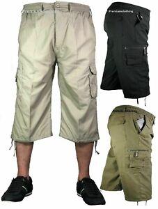 Homme-3-4-Long-Longueur-Shorts-Taille-Elastique-Cargo-Combat-Trois-Quart-Pantalon