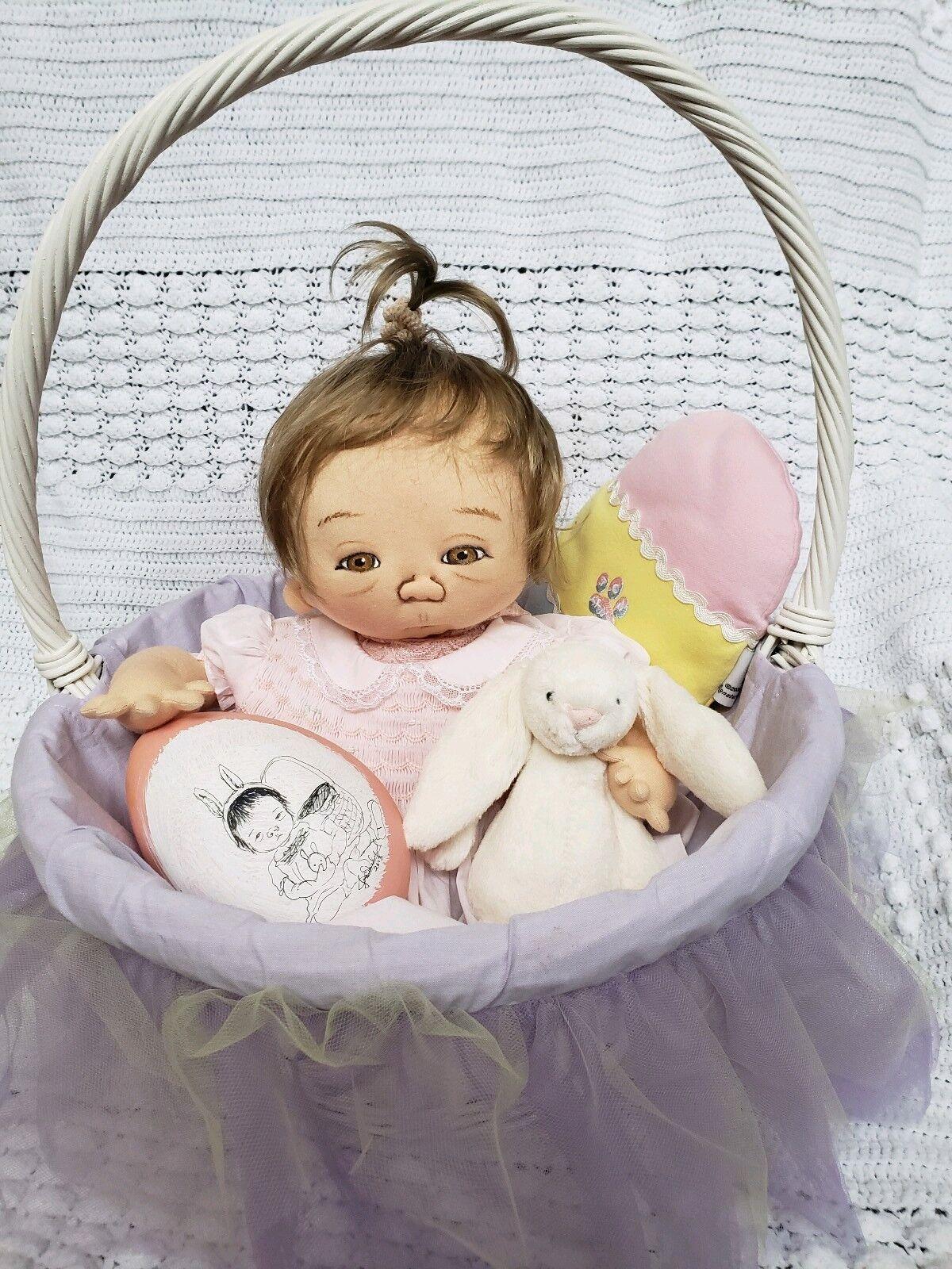 Jan Shackelford uno de una clase Pascua bebé todo original con juguetes y cesta