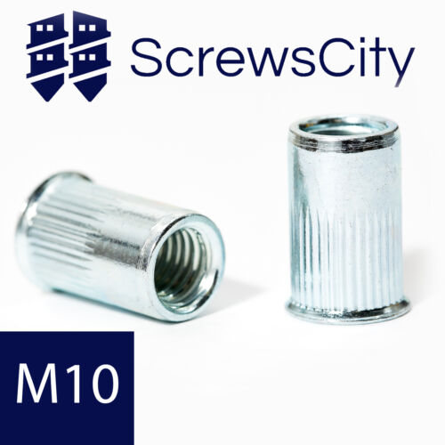 10mm Ø BLIND RIVET NUTS GROOVED SHANK OPEN END COUNTERSUNK REDUCED HEAD M10