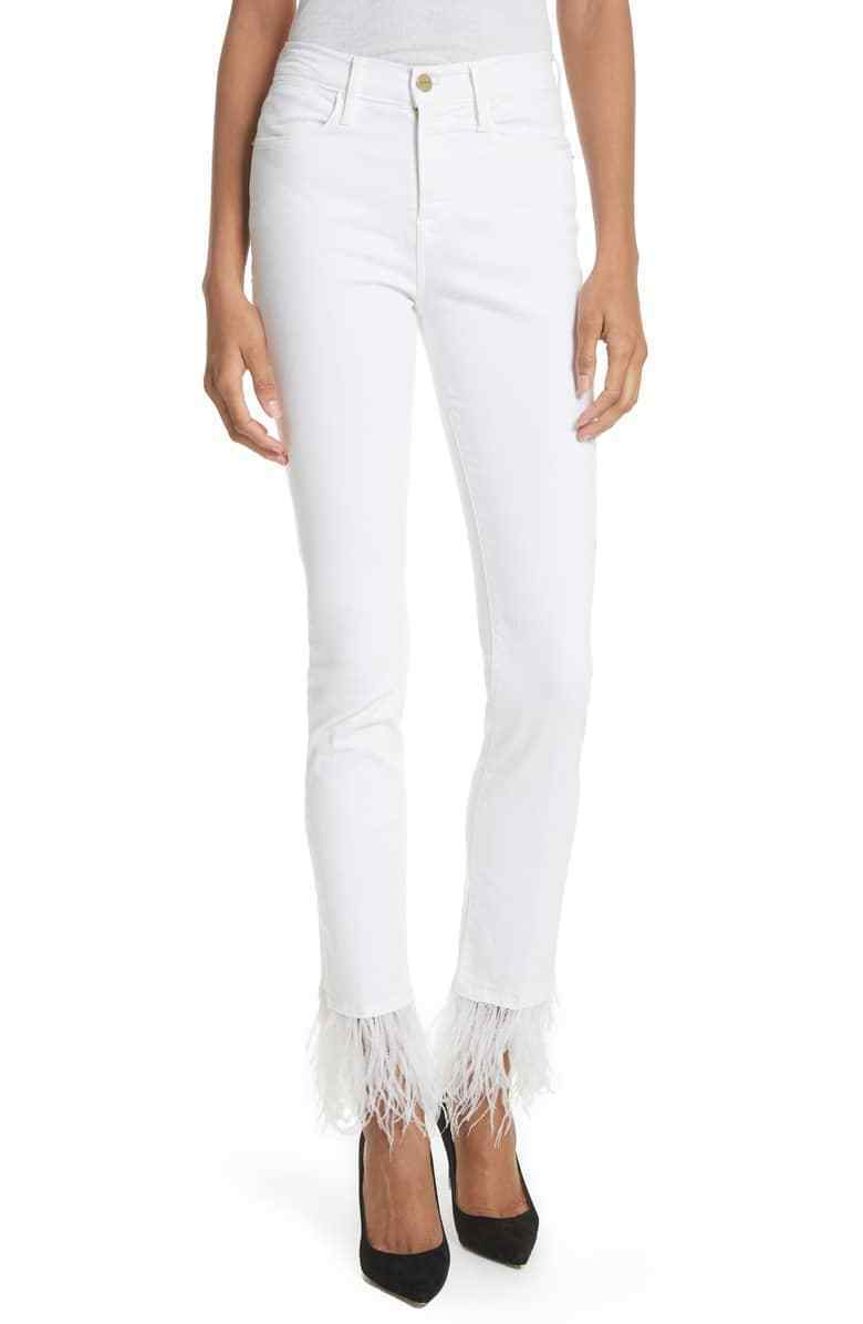 Frame Le High Straight Feather Trim Hem Jeans, Size 25, White, NEW - NWOT,  289