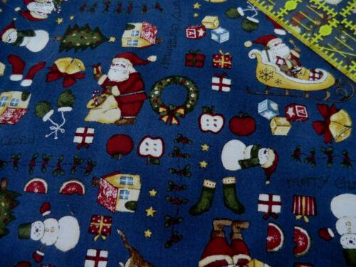 QUALITY CHRISTMAS SCANDI QUILTING CRAFT COTTON FABRIC BLUE NAVY FAT QUARTER