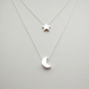 Star moon necklaces choker for women jewelry 2 layer chain pendants image is loading star moon necklaces choker for women jewelry 2 mozeypictures Choice Image