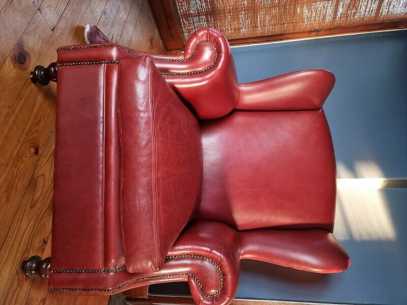 Genuine leather wingback chair