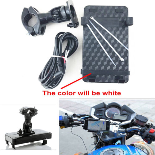 360° Rotatable Motorcycle Scooter Phone Holder Stand USB Charging Mount Black
