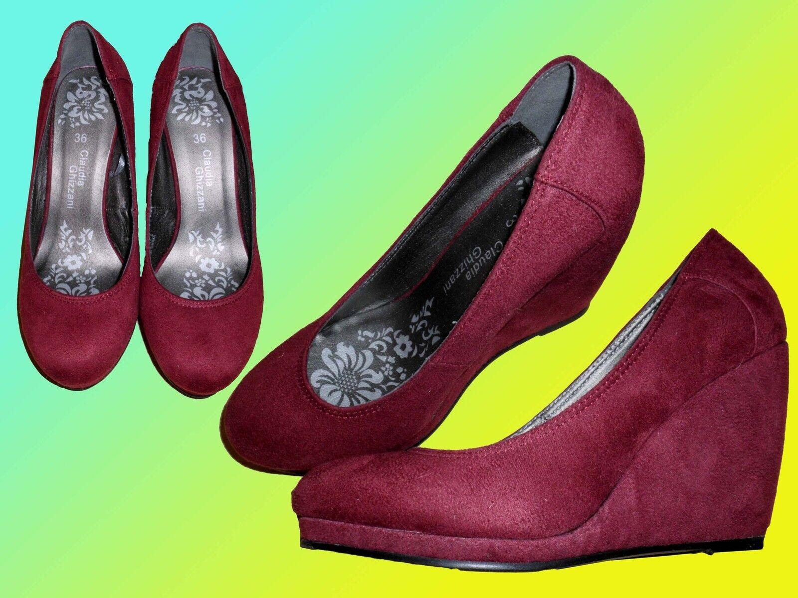 schicke weinrote hohe Damenschuhe Schuhe Wedges Platau Pumps  Gr. 36 Velour NEUa