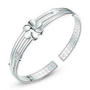 Women-925-Sterling-Silver-Solid-Flower-Wristband-Bracelet-Bangle-Cuff-Xmas-Gifts