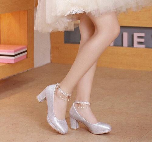Womens Sequins Wedding Shoes Ankle Straps Platform Chunky Heels Pumps Shiny NEW